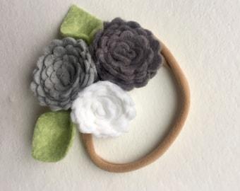 GREY SKIES// delicate flower cluster// headband