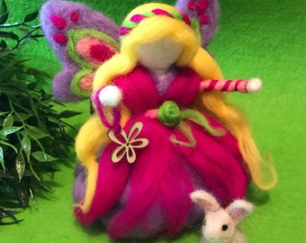 Fairy Waldorf Butterfly made of wool with Bunny's gift.