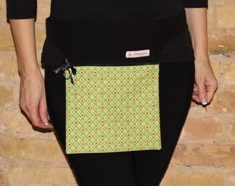 Belt bag, waist pack, shoulder bag, cellphone, cosmetic bag, document bag, travel bag, retro, green, flowers, floral