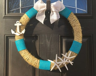 Nautical Wreath, Nautical Decor, Beach Decor, Anchor Decor, Beach Wreath, beach house wreath, summer Wreath, spring Wreath, navy Wreath
