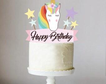 Printable Unicorn on rainbow Cake Topper