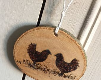 Pyrography wood burning chickens