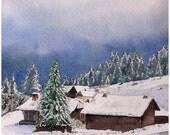 Aquarelle originale, peinture à l'aquarelle, paysage de montagne, paysage d'hiver, Alpes, chalets dans la neige