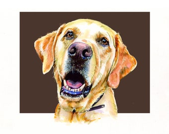 Custom Pet Portrait, LABRADOR HEAD SHOT, Watercolour/illustration. Animal painting & Animal Illustration
