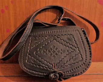 Hand-bag women Brown Handmade Leather Brown Morocco ethnic style Bohemian