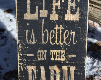 Life is Better on the Farm Vintage Wooden Sign Farmhouse Decor Rustic Wood Sign Wall Art Painted Sign Barnboard Sign