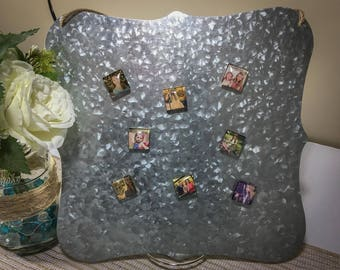 8 Custom Photo Magnets & Tin Board