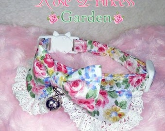 Alice kitten cat collar rose garden ruffle collar