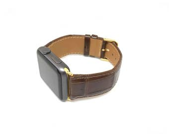 AppleWatch Band Brown Leather  Watchband iwatch mens Strap Hand Crafted croc