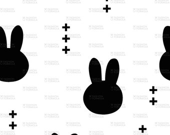 Bunnies - Black on White Fabric by littlearrowdesigncompany