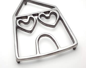 Vintage Trivet Pot Stand Hot Pot Holder Sculpted of Solid Aluminum House With Heart Shaped Windows