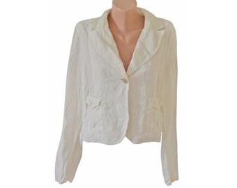 Vintage Mark women white blazer 100% linen