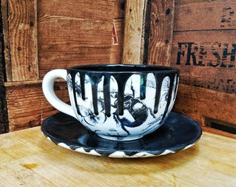 Cappucino Cup & Saucer, Unique Hand Painted, Bug design, afternoon tea set, Ceramic paint glaze, set of 2, creepy gothic design