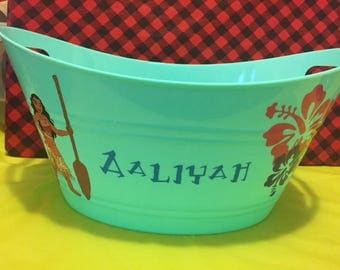 Moana Toy Basket, Personalized Basket, Toy Bucket, Gift Basket, Kids Gift, Toy Basket, Hair Bow Basket, Lego Bucket