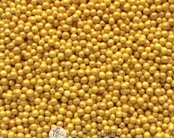 Gold Glimmer Non Pareils, 100s and 1000s, Hundreds and Thousands Sugar Sprinkles, Cupcake or Cake Decorations