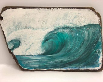 Wave painting on driftwood