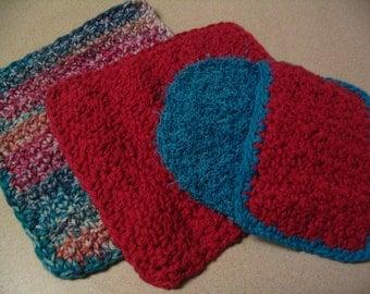 2 Crochet Dishcloths Wash Pad and Scrubbie Kitchen Set