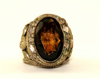 Vintage Israel Smoky Quartz Filigree Ring 925 Sterling Silver RG 692