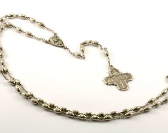 Vintage 1830 Catholic Maria Miraculous Cross Crucifix Necklace 925 Sterling Silver NC 552-E