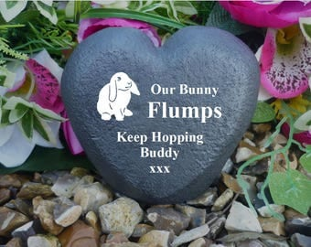 Rabbit Memorial Heart (Stone Effect) - Personalised - Weatherproof - Freestanding - Rabbit/2
