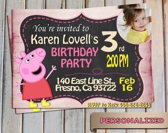 SALE 20 % Peppa Pig Invitation, Peppa Pig Invite, Peppa Pig Birthday, Personalized, Digital Invitation, Print Yourself. Thank you card FREE