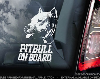 Pitbull on Board - Car Window Sticker - Cropped Pit bull Terrier Dog Sign Decal - V02