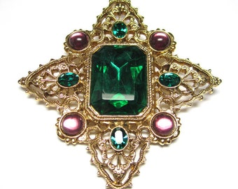 Pin with Green and Pink Glass Stones.