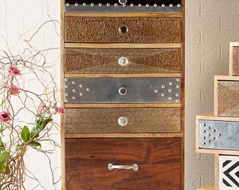 Sorio handcrafted reclaimed wooden Indian Jaipur 7 drawer chest of drawers