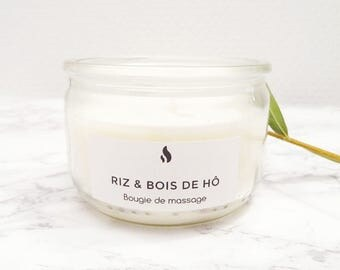 Candle Massage sound of rice & wood of HO in 100% natural - 100ml - essential oil soy wax / plant biological - Organic Candle