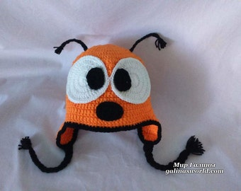 Kids knitted wool hat/Knitted cute animal hat/Warm wool blend yellow and black bee hat with big eyes n moustaches