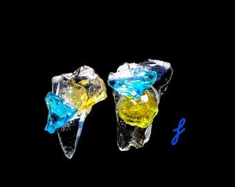 Stained glass wearable Art Lt blue - Lt gold -- Clear