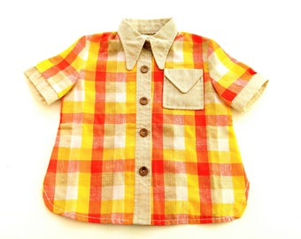 Boys BloUse ShiRt size 2Y retro VinTage old school shirt 86/92 suMmer