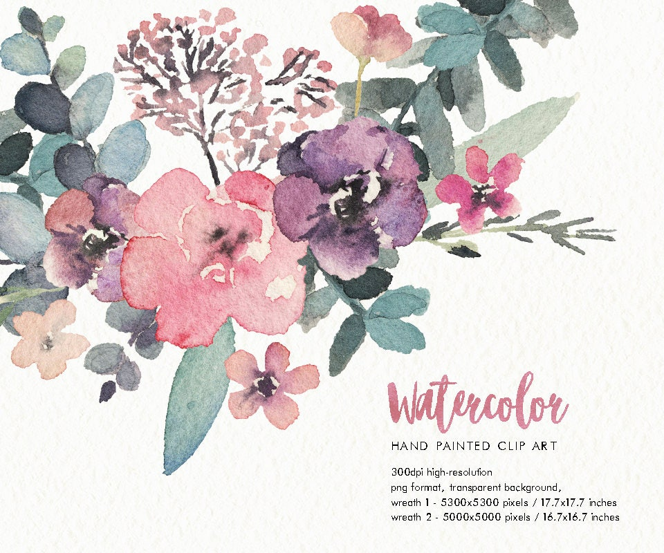 Watercolor Floral Wreaths Tenderness Hand Painted