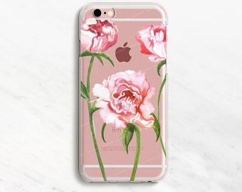 Peony iPhone 7 Case Flower iPhone 6 Case  Floral iPhone 7 Plus Case Watercolor Flower Peonies iPhone Case Rose Gold iPhone Case Pink Flowers