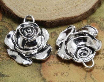 3PCS Rose Charm Silver tone Rose Flower Pendants Charms 36x31mm