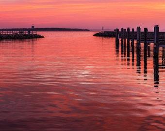 "Red Sky Art, Red Sunrise Print, Harbor at Sunrise, Michigan Wall Art, ""Red Waterway"""