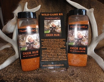 WILD GAME RX  Hunt*Shoot*Eat* 24oz bottle Deer rub and wild game rub seasoning