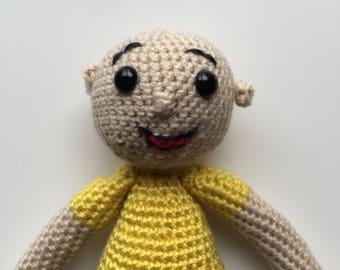 PATTERN Caillou inspired crochet doll, poupee, kid, birthday idea, handmade