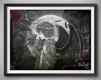 Depressive art BW print Noise art Sad boy Black wings Black feathers Male tears Sorrow Dark art Despair Suffering Sadness Depression Crying
