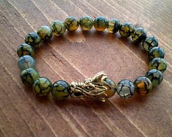 Dragon Vein Bracelet, Beaded Bracelet Natural Healing, Dragon Totem, Dragon Jewellery, Reiki Yoga Bracelet Jewelry