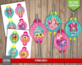 SHOPKINS Straw Tags - Shopkins Straw Labels, Tags, Wrappers, Shoppies, Label, Favors, Table Decoration - Digital JPG Files, Instant Download
