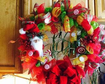 Santa Candy Deco Mesh Christmas Wreath