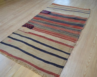 Vintage kilim. Turkish tribal kilim rug. Turkish carpet. Free shipping. 5.2 x 2.9 feet.