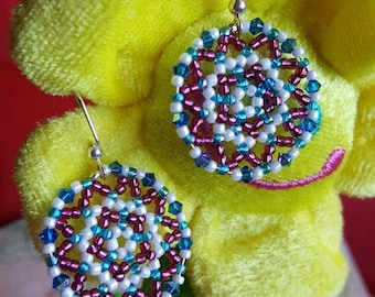 Beautiful Blue and Burgundy Handmade Beaded Earrings. Great for everyday use, holiday jewelry or any special occasion!!
