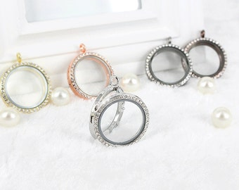 5pcs Retro Round Pave Zircon Locket Charm Pendant can be opened and closed,Circle Glass Locket Charms Necklace Pendants Accessories Jewelry