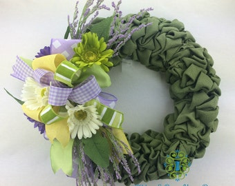Burlap Wreath, Spring Wreath, Summer Wreath, Door Wreath, Porch Wreath