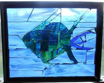 Stained glass framed mosaic, fish, aquatic, beach decor, ocean