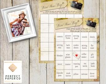 Bridal Shower Bingo, Instant Download Bingo, Shower Game, BINGO , Adventure Theme, Vintage Travel Theme, Bridal Shower Games, bingo game
