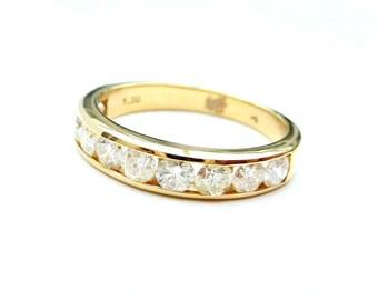 18ct yellow gold & diamond band, channel set diamond eternity ring, diamond wedding ring, 1ct diamond eternity ring, half eternity ring