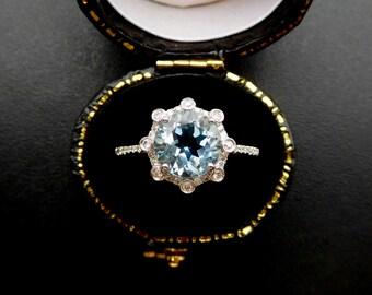 Aquamarine & diamond ring, aquamarine and diamond engagement ring, aquamarine dress ring, aquamarine and diamond halo ring